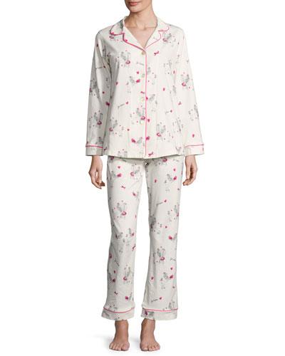 Fifi Long-Sleeve Printed Classic Pajama Set, White Pattern