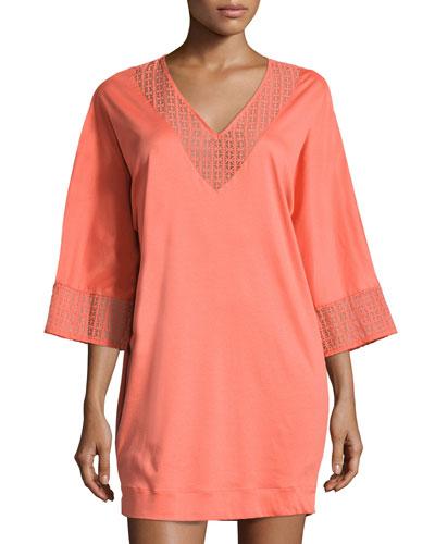 Mathilde 3/4-Sleeve Sleepshirt, Coral