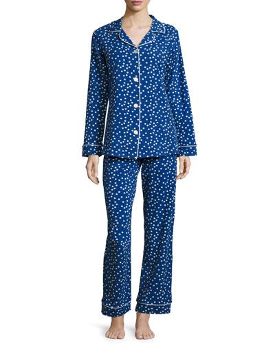 Demi Dot Long-Sleeve Classic Pajama Set, Blue Pattern
