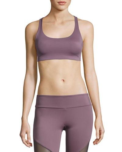 Chic Strappy Low-Impact Sports Bra, Light Purple