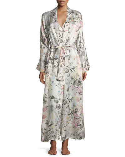 Juliet Printed Long Wrap Robe, Multi Pattern