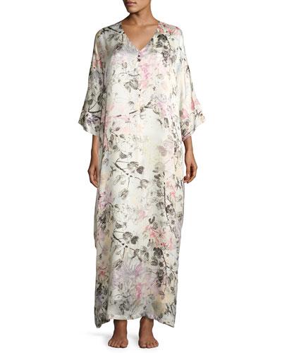 Juliet Floral-Print Silk Lounge Caftan, Multi Pattern