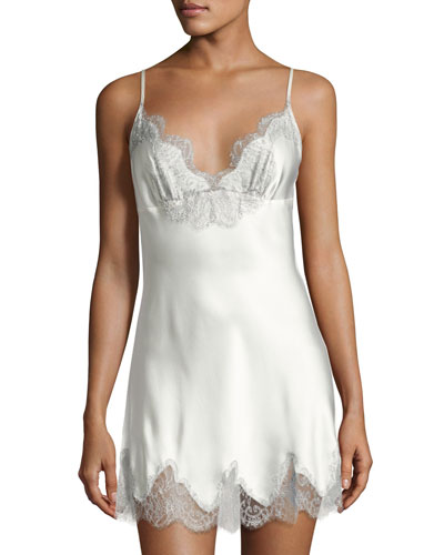 Midsummer Lace-Trim Silk Chemise, White