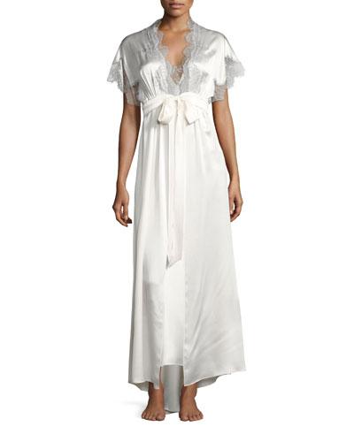 Midsummer Lace-Trim Long Silk Robe
