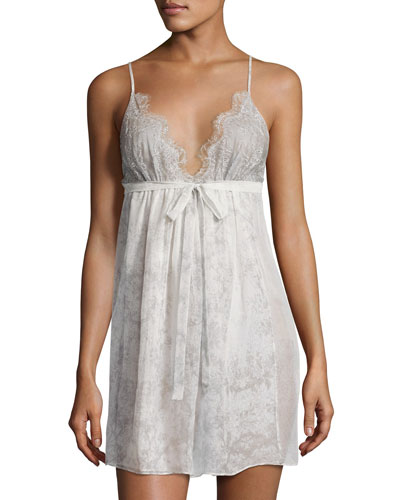 Midsummer Lace-Trim Printed Chemise, Multi Pattern