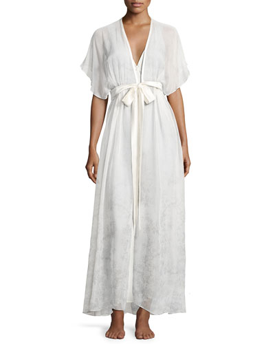 Midsummer Printed Chiffon Long Robe, Multi Pattern