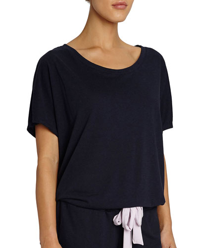 Heather Slouchy Drawstring Lounge Tee, Dark Blue