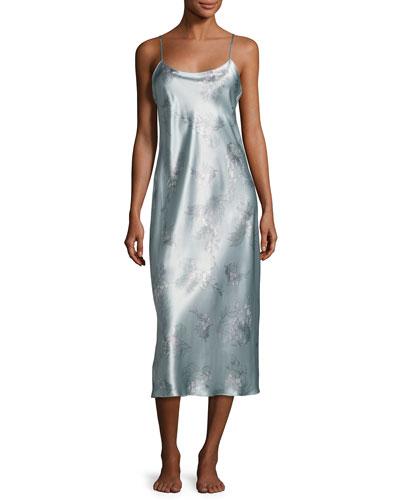 Wisteria Long Silk Nightgown, Blue Pattern