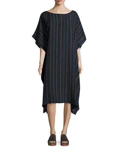 Striped Linen Kaftan Dress, Indigo