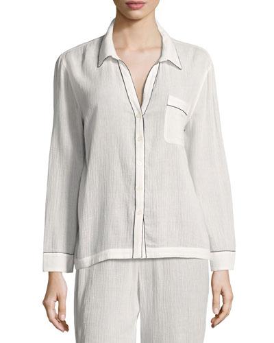 Long-Sleeve Piped Pajama Shirt