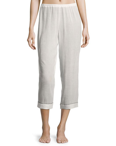 Piped Cropped Pajama Pants