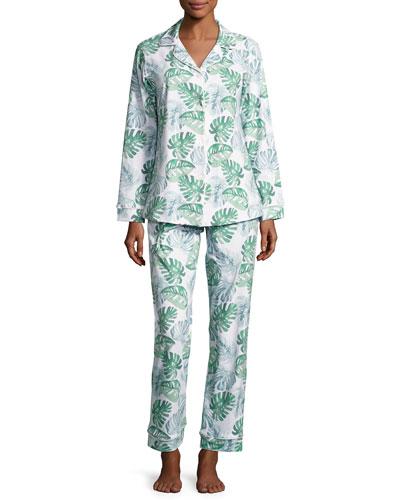 Palm Leaf-Print Classic Pajama Set, Green Palm
