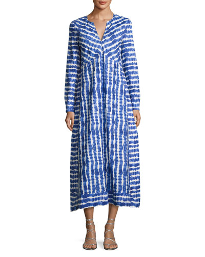 Long-Sleeve Tie-Dye Maxi Dress, Multi
