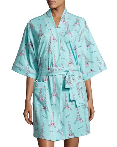 French Bow Short Kimono Robe, Light Blue
