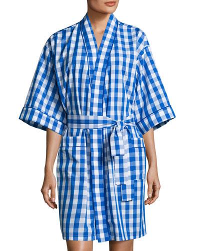 Gingham Short Kimono Robe, Navy