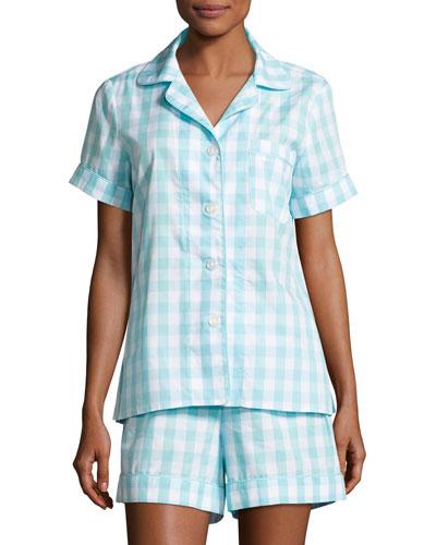 Gingham Shortie Pajama Set, Aqua, Plus Size