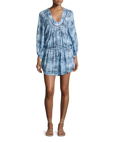 Rustic Lara Swim Coverup Caftan Dress, Blue