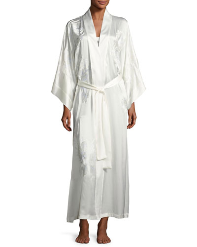 Delphine Embroidered Silk Long Robe, White
