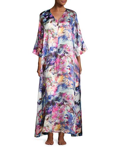 Blossoms Floral-Print Silk Caftan, Multi Pattern