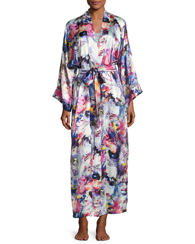 Blossom Printed Long Silk Wrap Robe, Multi Pattern