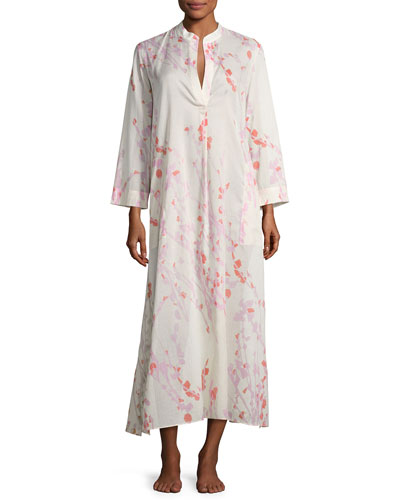 Orchid Spray Lounge Caftan, Cream