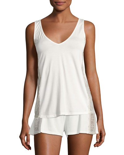 Bacall Two-Tone Lace-Inset Lounge Camisole, Ivory