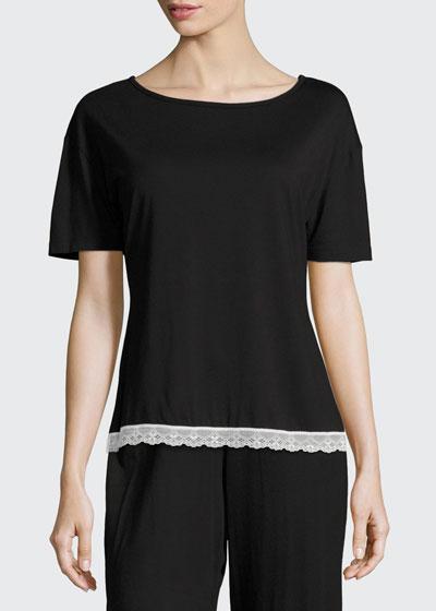 Majestic Lace-Trim Lounge Top, Black/White