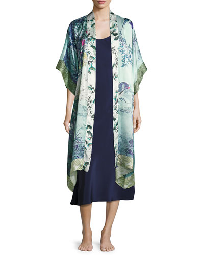 Gatsby Floral-Print Silk Long Robe, Multi Pattern