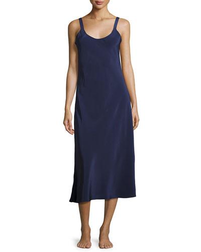 Silk-Crepe Long Nightgown, Dark Blue