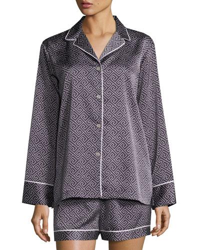 Labyrinth Short Pajama Set, Dark Blue