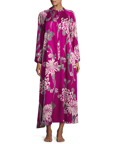 Floral-Print Zip Caftan, Purple Pattern