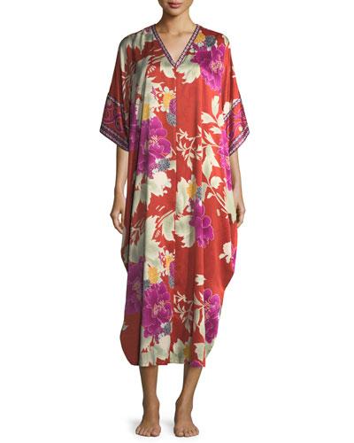 Auburn Floral Zip-Front Caftan, Women's
