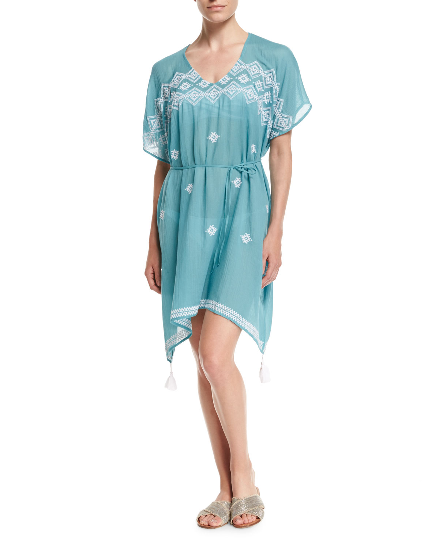 Cross-stitch Coverup Caftan Dress, One Size
