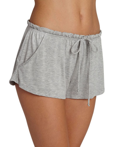 Darby Drawstring-Waist Lounge Shorts, Light Gray
