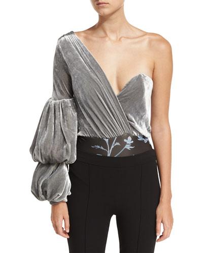 Jude One-Shoulder Velvet Bodysuit