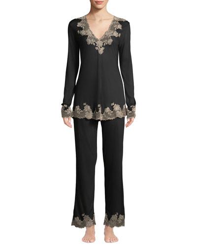 Charlize Lace-Trim Pajama Set