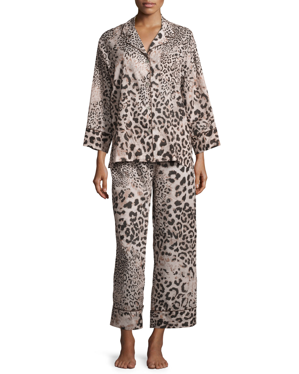 Animal-Print Cotton Pajama Set
