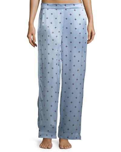 Sky Star Print Silk-Satin Pajama Pants