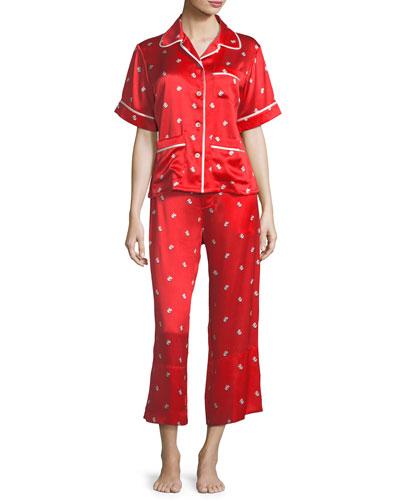 Daria Cindy Crop Silk Pajama Set