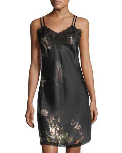 Paris Floral-Print Silk Nightdress