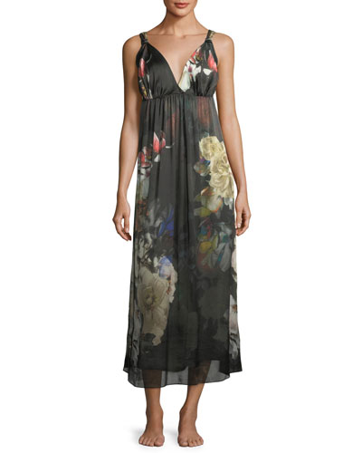 Dark Romance Silk Long Nightgown