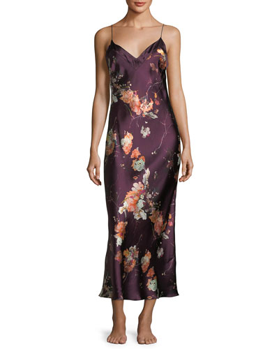 Floral-Print Sleeveless Silk Nightgown