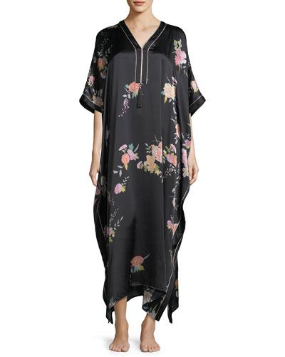 Midnight Garden Silk Caftan