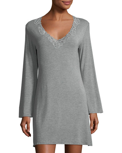 Feathers Lace-Trim Sleepshirt