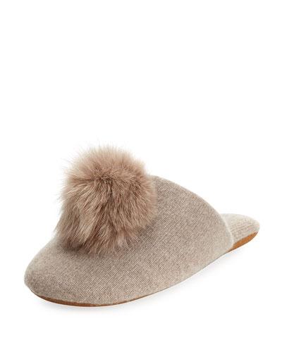 Cashmere Fur-Pompom Slipper, Beige