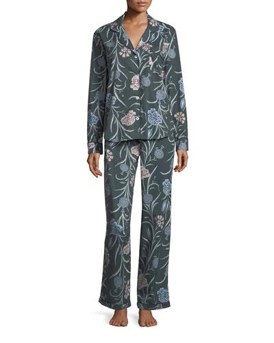 British Floral-Print Long Pajama Set