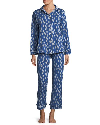 Ikat Dot Long-Sleeve Classic Pajama Set