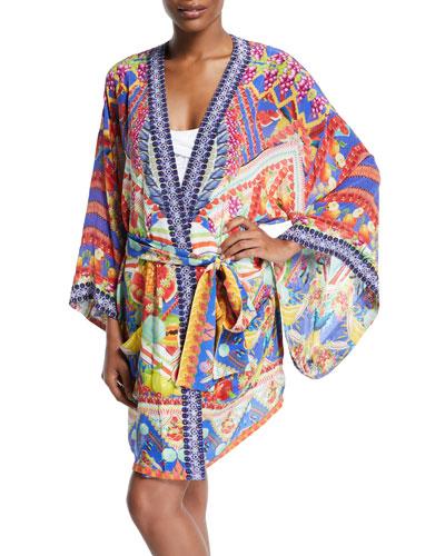 Printed Silk Belted Kimono