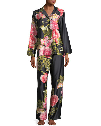 Mandarin Floral-Print Charmeuse Pajama Set