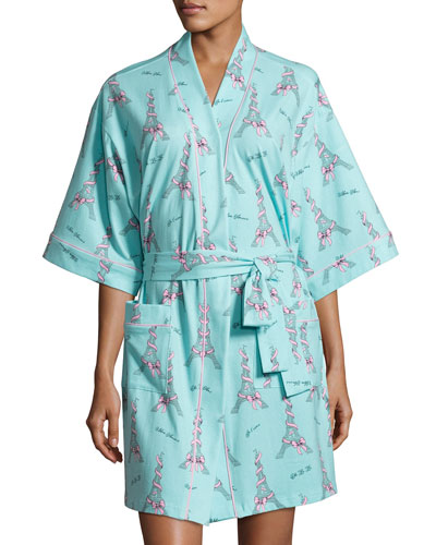 French Bow Short Kimono Robe, Light Blue